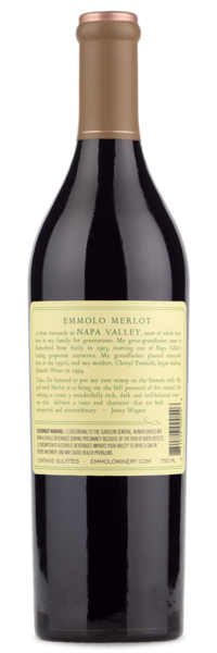 2014 Emmolo Napa Valley Merlot - Winery Back Label