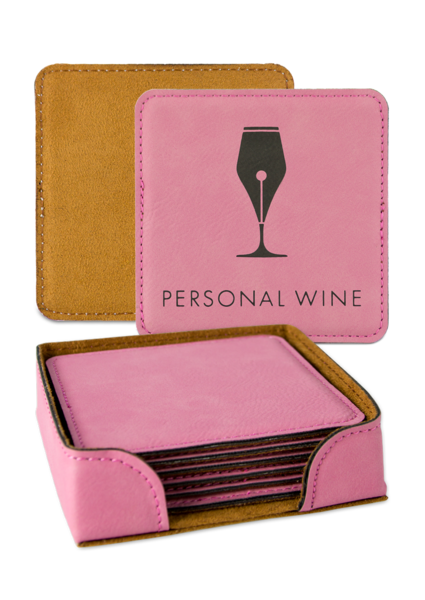 Leatherette Coaster - Pink Set