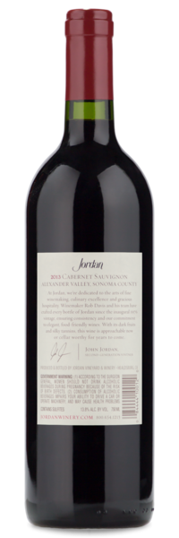 2013 Jordan Alexander Valley Cabernet Sauvignon - Winery Back label
