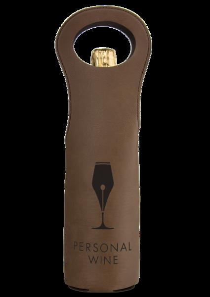 Leatherette Wine Bag - Dark Brown and Black