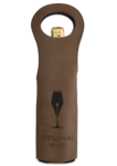 Leatherette Wine Bag - Dark Brown and Black