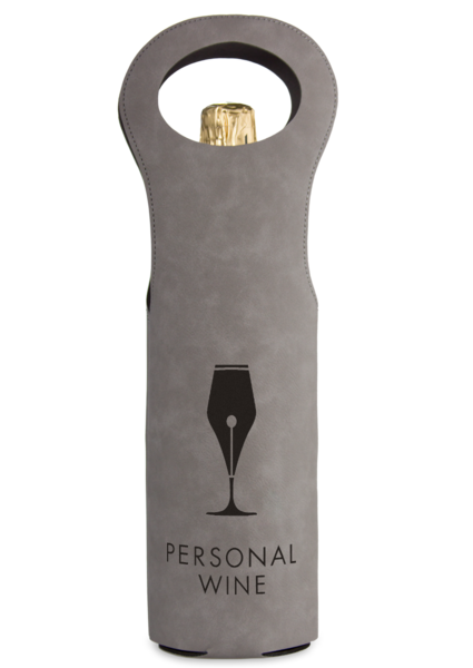 Leatherette Wine Bag - Gray and Black