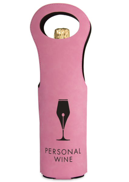 Leatherette Wine Bag - Pink and Black
