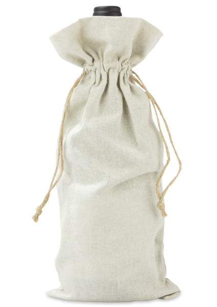 Linen Wine Bag with Jute Drawstrings