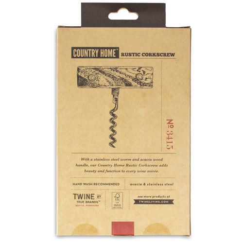 Country Home Rustic Corkscrew - Box Back