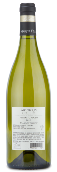 "2016 Marco Felluga ""Mongris"" Pinot Grigio - Winery Back Label"
