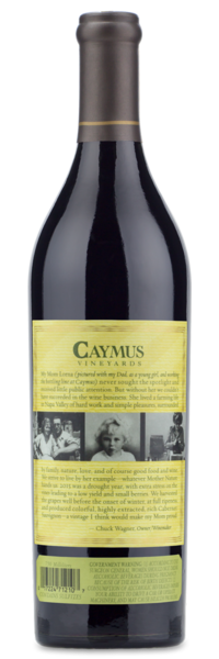 2015 Caymus Vineyards Napa Valley Cabernet Sauvignon - Winery Back Label