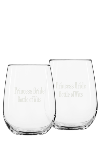 Pricess Bride Bottle of Wits Glassware Set Back