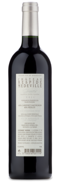 Chateau Respide-Medeville Graves 2011 - Winery Back Label