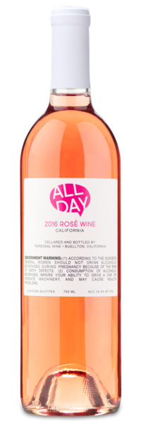 2016 All Day Rosé - Winery Back Label