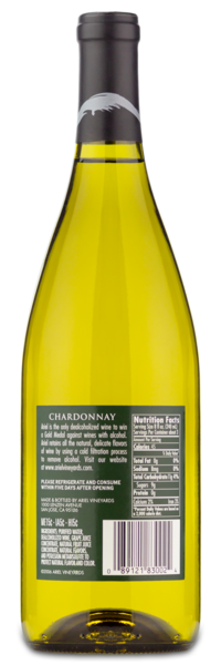 Ariel Vineyards Chardonnay - Winery Back Label