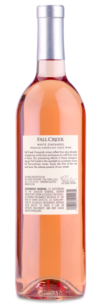 Fall Creek White Zinfandel - Winery Back Label