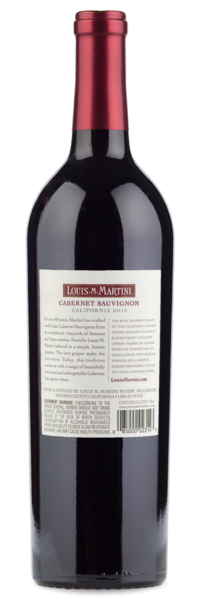 2015 Louis Martini Cabernet Sauvignon - Winery Back Label