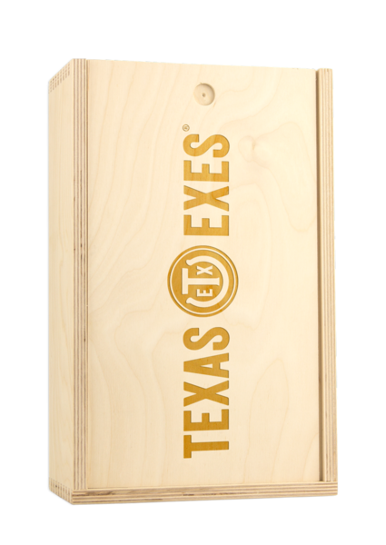 Texas Exes Custom Etched Double Bottle Box