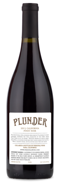 2017 Plunder California Pinot Noir - Winery Back