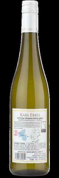 Karl Erbes Riesling Spatlese Urziger Wurzgarten Mosel - Winery Back Label