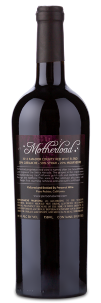 Motherload Red Wine Blend - Winery Back Label