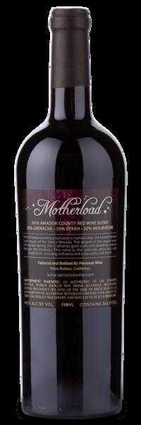 Motherload Red Wine Blend - Winery Back Label