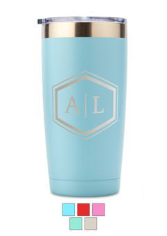 Monogram Stainless Steel 20 oz Tumbler with Lid (5 Colors) wine gift