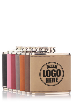 Leatherette flasks yourlogohere