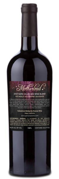 2017 Motherload Napa Valley Red Wine Blend - Winery Back Label