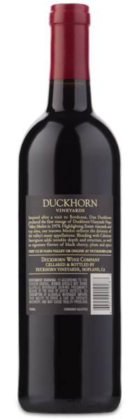 2016 Duckhorn Vineyards Napa Valley Merlot - Winery Back Label