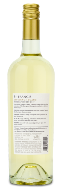2017 St. Francis Sauvignon Blanc - Winery Back Label