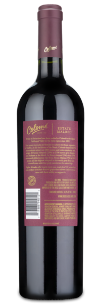 2017 Colome Estate Malbec - Winery Back Label
