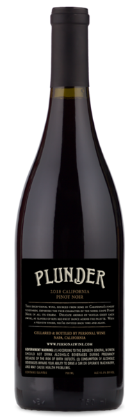 2018 Plunder California Pinot Noir - Winery Back