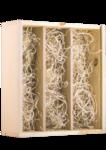 Triple Bottle Pine Box for Wine - Open