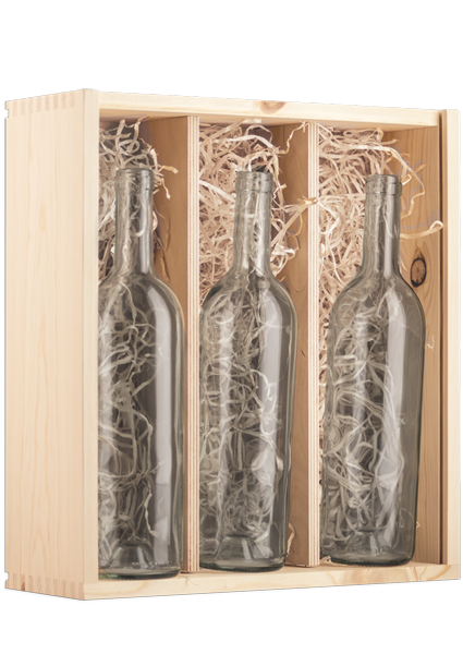 Triple Bottle Pine Box for Wine - With Bottles