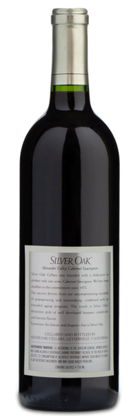 2007cSilver Oak Alexander Valley Cabernet Sauvignon - Winery Back Label