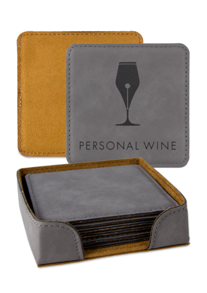 Leatherette Coaster - Gray Set
