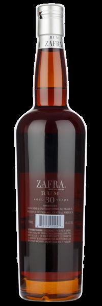 Zafra Master Series 30 Yr - Back of Bottle