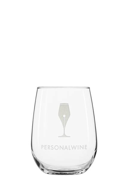 stemless wine glass engraved